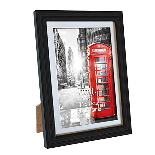 UMI. Essentials 7x5 Photo Picture Frames for Wall Mounting and Tabletop Display, Black
