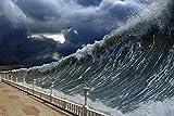 Pintura por números para principiantes y kits de pintura para niños sala de estar dormitorio pared decoración del hogar pintura al óleo (sin marco) -desastres naturales tsunami olas enormes