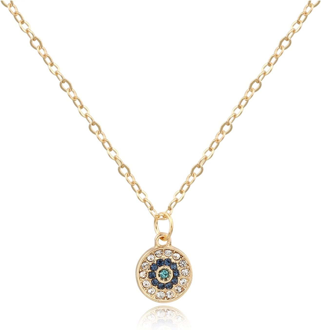 Without Turkish Evil Eye Moon Star Pendant Necklaces for Women Jewelry with Rhinestone Beads Collar Necklace Womens Clavicel Chain (Metal Color : 2)