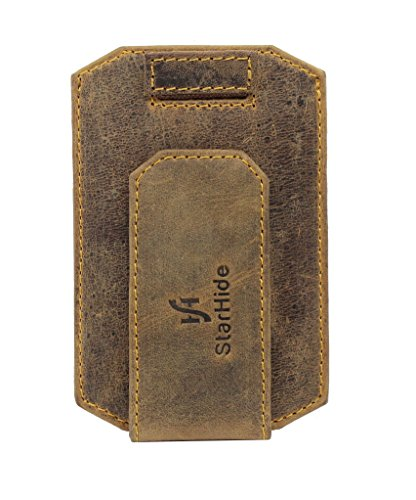 STARHIDE Mens RFID Blocking Real Distressed Hunter Leather Minimalist Card Holder Wallet With Magnetic Money Clip 725 Brown