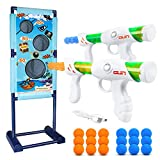 M AOMEIQI Moving Shooting Targets Game Indoor Outdoor Shooting Practice Set Popper Gun Shooter Blaster Toy Set with 2 Popper Guns and 18 Foam Balls for Kids Family