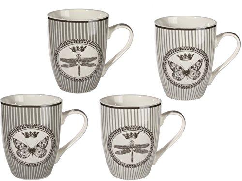 Bada Bing 4er Set Tassen Becher Libelle Schmetterling 4 fach sortiert