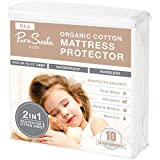 Pure Siesta Kids Organic Cotton 100% Waterproof Mattress Protector Pad, Washable, Noiseless & Breathable Bed Cover Cover (Full)