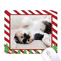 キティ猫ストライプリラックス睡眠動物 ゴムクリスマスキャンディマウスパッド