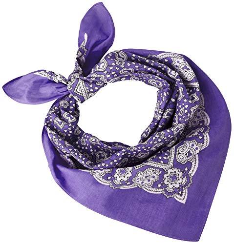 Tobeni 548 Bandana Head- Pañuelos para el Cuello de Tela 100% Algodón Unisex Color Cachemir Morado Tamaño 54 cm x 54 cm