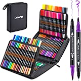 120 Colors Art Markers Set, Ohuhu Dual Tips Coloring Brush Fineliner Color Marker Pens, Water Based Marker for Calligraphy Drawing Sketching Coloring Bullet Journal Back To School Gift, Black