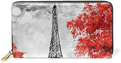 Keyboard cover Bolso de mano de piel con cremallera y tarjetero, diseño romántico de la Torre Eiffel, cartera de piel auténtica, con cremallera y tarjetero, gran bolsa de viaje One_color. Talla única