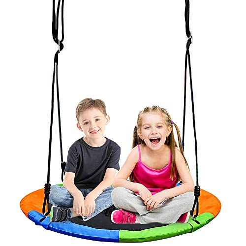 Hanging Hammock Chair, Outdoor and Indoor Leisure Hanging Swing Chair Seat with Cushion, Robust Construction, MAX Weight: 440Lb, for Home, Bedroom, Patio, Porch, Garden, Balcony