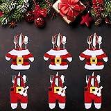 LATTCURE Weihnachten Bestecktasche 6PCS Weihnachtsdeko Taschen Tischdekoration Besteckbeutel Besteckhalter Tischdeko Besteck Weihnachtsmann Kostüm Serviettentasche mit Kleine Hosen und Kleidung