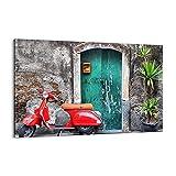 Cuadro sobre lienzo - Impresión de Imagen - Scooter transporte italia retro - Imagen Impresión - Cuadros Decoracion - Impresión en lienzo - Cuadros Modernos - Lienzo Decorativo - (AB) 2571