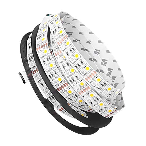 H/A Doble Fila Flexible no Impermeable SMD5050 RGB + WW Lámparas de 5M 600LED DC12V para Sala de Estar Interior decoración del hogar MENGN (Color : White PCB, Size : 5M)
