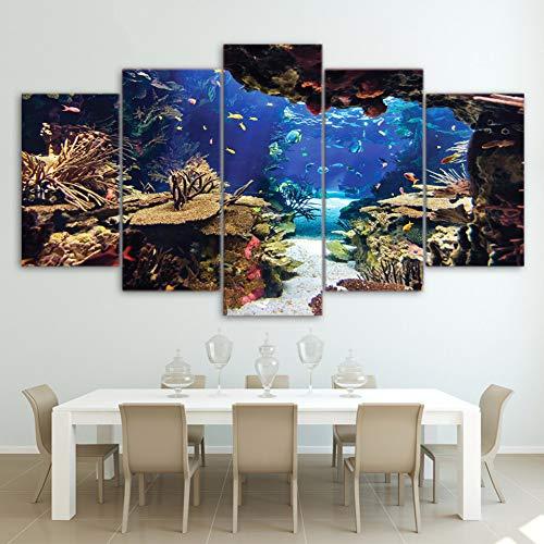 WZYWLH Decoración del hogar Arte de la Pared Imágenes Posters Marco 5 Panel Peces de mar Arrecifes de Coral Pintura Moderna sobre Lienzo Sala de Estar HD Impreso
