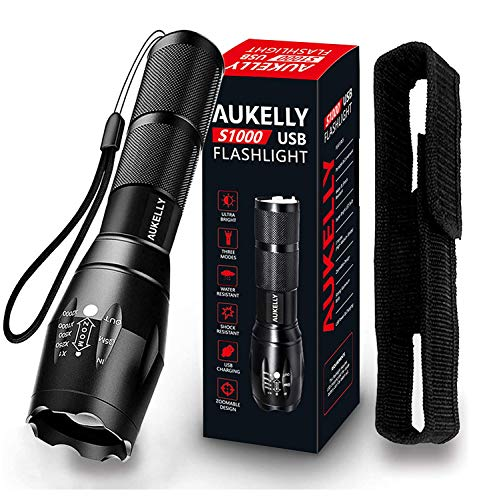 Aukelly LED Flashlight USB Rechargeable Flashlights High Lumens Tactical Flashlight XML-T6 Handheld Flashlight,Waterproof,Zoomable,Super Bright Flashlight for Camping,Hiking,with 18650 Battery