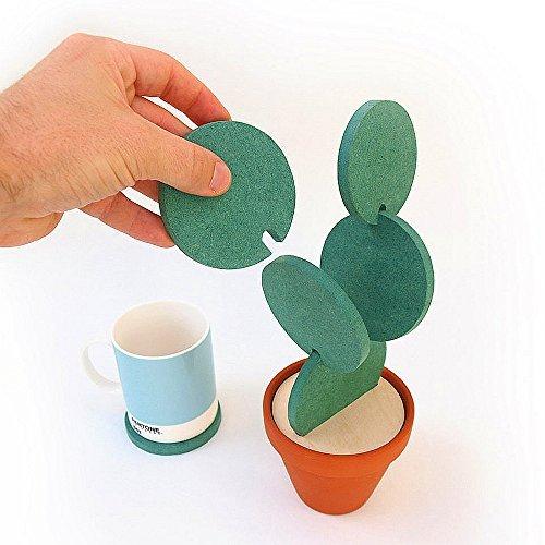 ELINKUME Untersetzer Grün Dekoration Kaktus Design Set von 6 Kaktus Becher/Kaffee/Tee Untersetzer Untersetzer mit Blumen Topf Halter Tisch Dekoration Kreatives Geschenk