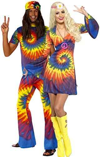 Mens & Ladies Couples Tie Dye Hippy Hippie 1960s 60s Multi-Coloured Matching Fancy Dress Costume Outfits (Ladies UK 12-14 & Mens Large)