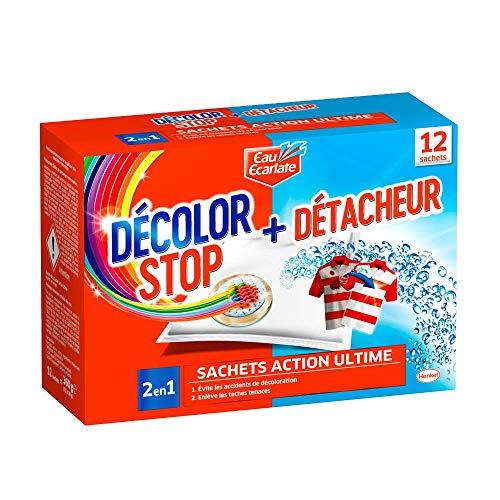 Décolor Stop 2en1 – Sachets Anti–Décoloration + Détacheur – Set de 12 Sachets