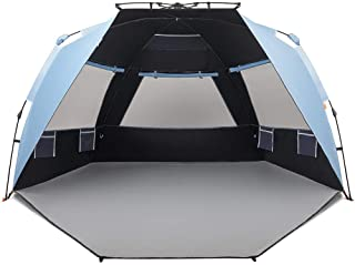 Easthills Outdoors Instant Shader Dark Shelter Deluxe XL Easy Up 4 Person Beach Tent Sun Shelter UPF 50+ with Extended Zip...