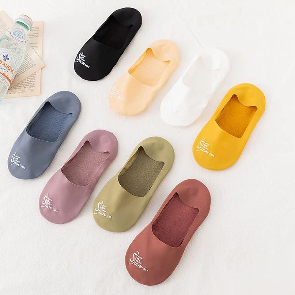 WDXIN Comfortable Female Invisible Non-Slip Women Hosiery Boat Socks Ice Silk Socks for Flats Boat Sneaker Solid Color Cotton Socks(Multicolor)