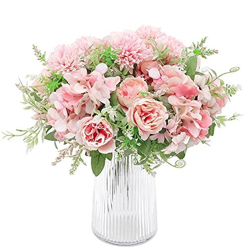 Decpro 2 Piezas de hortensias de Seda de peonía Artificial, claveles de crisantemo, Todos los Ramos de Flores para Bodas, hogar, Oficina, jardín, decoración, centros de Mesa(Rosa Claro)