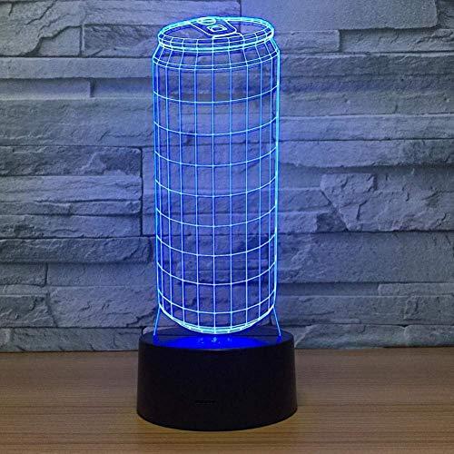 Lámpara visual 3D Ilusión óptica Luz nocturna LED 7 colores cambiantes Luz nocturna táctil Un regalo perfecto de Navidad y Año Nuevo para niñas y niños-Botella de refresco