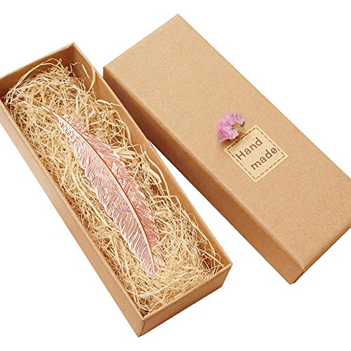 Lesezeichen, Feder, Metall, Klassisches Design, Bronzefarben, ideal als Geschenk für Freunde und Familie Rose