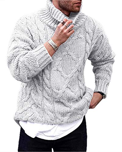 Gafeng Mens Cable Ribbed Knit Turtleneck Pullover Sweater Winter Loose Fit Chunky Thermal Workout Sweater Gray