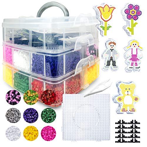 La Manuli 12000 Fusible Cuentas para Planchar Caja XL + 5 Formas Transparentes + 1 TABELARO Cuadrado + Accesorios Juego Completo Divertido Creativo para niños