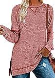 OMZIN Blusa de manga larga y cuello redondo para mujer, estilo túnica, elegante, asimétrico, con costuras decorativas, para otoño y primavera, tallas S-XXL A-naranja/rojo XL