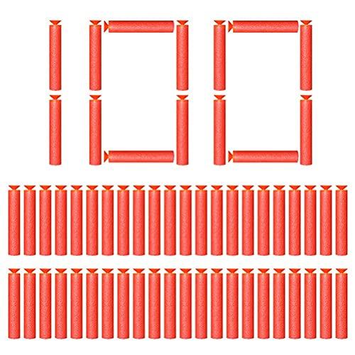 Breale 100 balas de espuma universales de cabeza de bala blanda, de EVA, con orificio hueco, con ventosa, repuesto para pistola de dardos, accesorios compatibles con Nerf Series Blasters de 7,2 cm