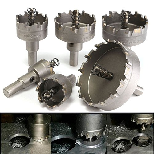 Confezione da 6 pezzi Punta da trapano professionale in metallo duro TCT Sega a tazza per foratura in lega di acciaio inossidabile (22 MM 30 MM 35 MM 45 MM 50 MM 65 MM)