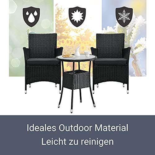 ArtLife Polyrattan Balkon Set Bayamo 2 Personen – Tisch mit Glasplatte & 2 Stühlen – Wetterfeste Balkonmöbel – Auflagen waschbar – schwarz – grau - 5