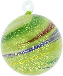 GlassOfVenice Murano - Bola de Navidad (cristal mediano), diseño de espirales verdes