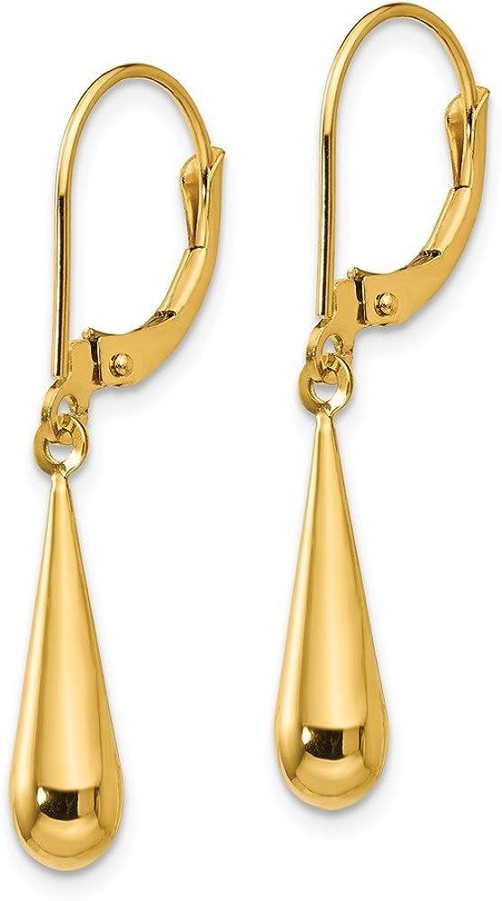 14k Yellow Gold Teardrop Drop Dangle Chandelier Leverback Earrings Lever Back Fine Jewelry For Women Gifts For Her