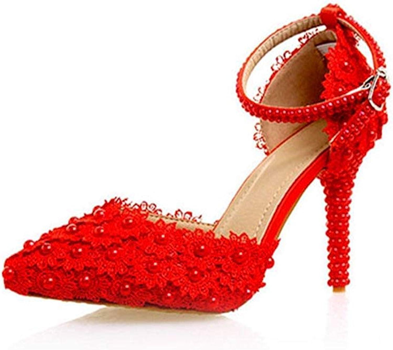 ZHRUI Damen Blaumen Blaumen Blaumen Rot Braut Hochzeit Pumps Schuhe UK 2.5 (Farbe   -, Größe   -)  ad6c0b