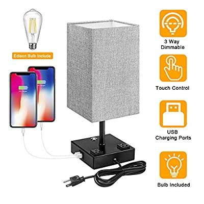 USB Bedside Table Lamp, Nightstand Lamp 2 USB Charging Port Dimmable Touch Control Bedside Lamp Grey Square Lampshade Bedroom Lamp for Metal Base Perfect for Bedroom Living Room E26 LED Bulb Included