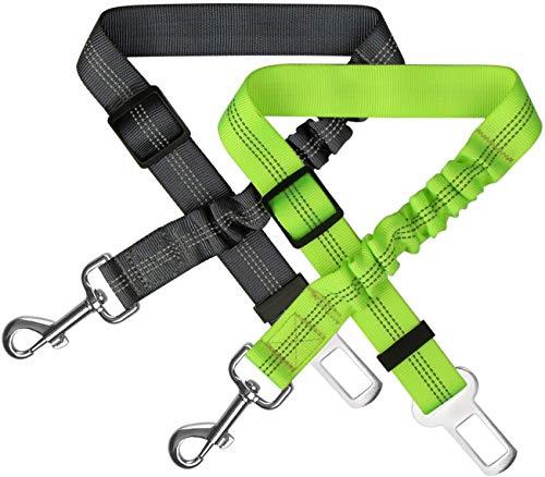 Zellar Cintura di Sicurezza per Cani, Regolabile in Nylon Riflettente Cane Gatto Cintura per Seggiolino con Elastico Ammortizza Colpi per Tutte Le Auto(Confezione da 2,Nero + Verde)
