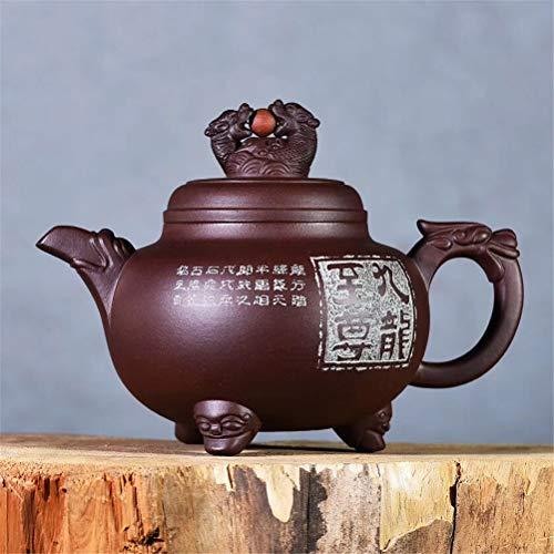 Théière, théière à la Main, ZiSha Pot Célèbre Fait à la Main Double Dragon Play Perles Mine d'origine Vieux Purple Purple Tea Set Boîte-Cadeau 350 ML