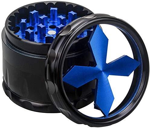 Pollen Grinder Crusher für Tabak,Spice,Kräuter,Gewürze,Herb, 4-Teiliges Set mit Pollen Scraper und klare Top-Fenster(63 mm),Blau
