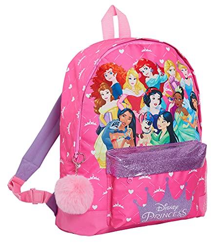 Disney Prinzessinnen-Rucksack mit allen offiziellen Prinzessinnen Mädchen, großer Schulrucksack, Glitzer, Lunchtasche