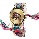 Nueva marca hecha a mano trenzado elefante pulsera de la amistad ver reloj de ginebra damas Quarzt relojes