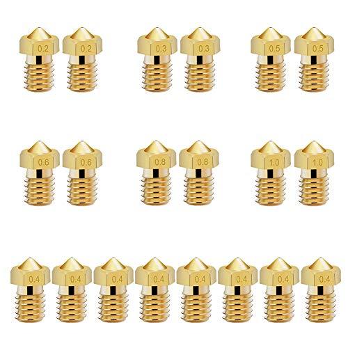KeeYees 20 Piezas Boquilla Impresora 3D M6, 0,2 mm 0,3 mm 0,4 mm 0,5 mm 0,6 mm 0,8 mm 1,0 mm Cabezales de Impresión de Latón para Extrusora