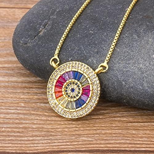 SONGK Collar de Cadena de circonita de Cobre, Collar con Colgante de Piedra CZ pavimentada Redonda de Lujo para Mujer, joyería