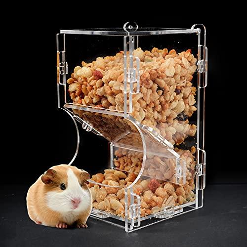 Automatischer Hamsterfutterautomat Acryl Hamsterfutterautomat, Futterspender Transparentes Acryl,Geeignet zum Füttern von Hamstern, Meerschweinchen,Mini-Igeln und Anderen Kleintieren