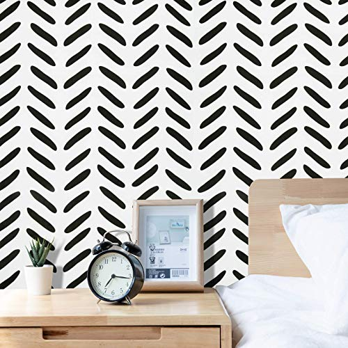 Peel and Stick Wallpaper 17.71''×393.7'' Black and White Wallpaper Modern Self Adhesive Home Decoration Wall Paper Removable Vinyl Film Contact Paper for Bathroom Laundry Room