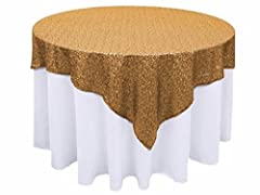 ❤ WHAT YOU GET : 1pc 50x50-Inch square gold sequin table cloth ❤ NO DROPPING SEQUINS : serged edges avoid falling sequins, beautiful colors of sequin tablecloth ensure your wedding party birthday christmas prom decoration dessert cake tables more ele...