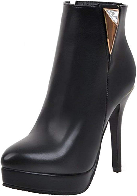 Gcanwea Women's Sexy Rhinestone Side Zipper Short Boots Round Toe Stiletto High Heel Platform Ankle Booties Black 4 M US