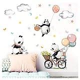 Little Deco Aufkleber DREI Panda mit Luftballons I Wandbild 102 x 77 cm (BxH) I Fahrrad Blumen Wandbilder Wandtattoo Tiere Deko Babyzimmer Kinder Sticker DL470