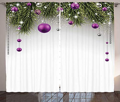 ABAKUHAUS Navidad Cortinas, Árbol, Sala de Estar Dormitorio Cortinas Ventana Set de Dos Paños, 280 x 175 cm,...