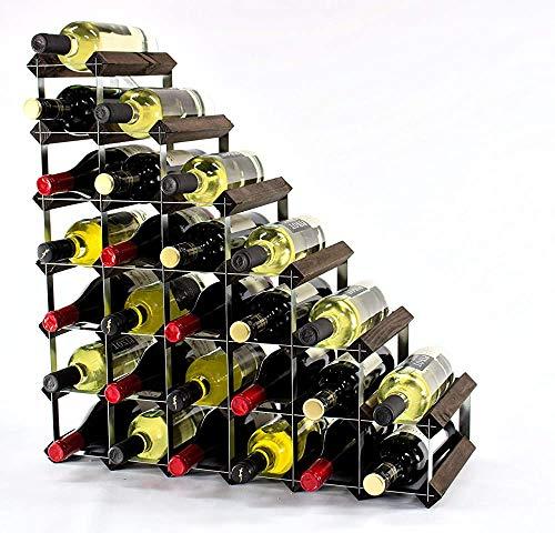 Moderna de color oscuro en la planta baja de pino roble tratamiento de superficies metálicas estilo sencillo galvanizado bandejas de acero botella de vino de metal 27 62 x 62 x 23cm,Black