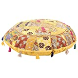 Jaipurstudio Yellow Indian Ethnic Bohemian Floor Pillow Cover 32 Inch Patchwork Meditation Ottoman Stool Home Decor Embroidered Vintage Cotton Round Floor Cushions Seating for Adults 32x32